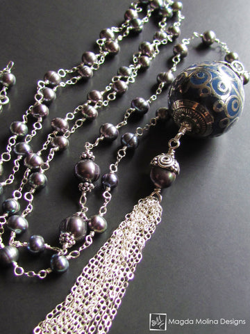 The Long Silver Wire Wrapped Freshwater Pearl Tassel Necklace