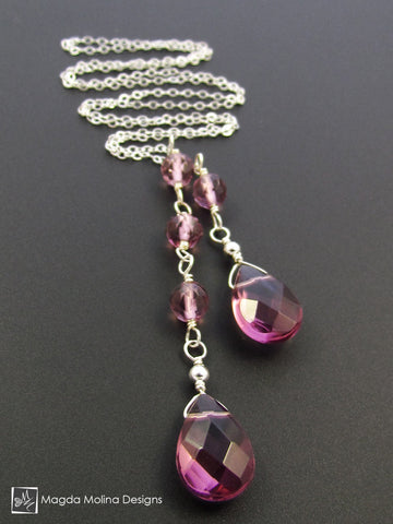 The Delicate Asymmetrical Chain Lariat With Purple Quartz Stones