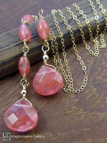 The Delicate Asymmetrical Chain Lariat With Cherry Quartz Stones