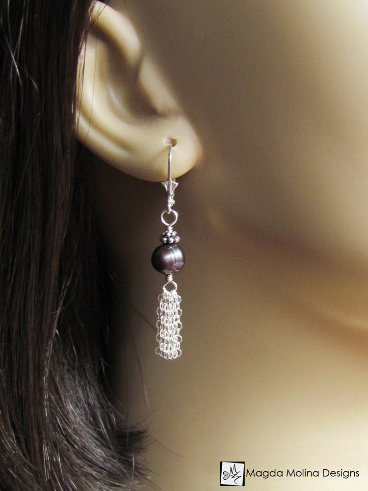 The Blue Freshwater Pearl And Silver Tassel Dangle Earrings