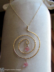 The Hammered Gold Spiral And Cherry Quartz Necklace