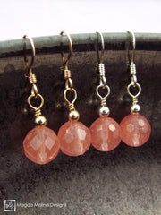 The Gold or Silver And Cherry Quartz Mini Dangle Earrings