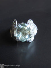The Glamorous Wire-Wrapped Silver And Green Amethyst Ring