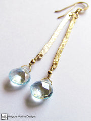 The Something Blue Earrings: Hammered Gold And Delicate Blue Topaz Drop
