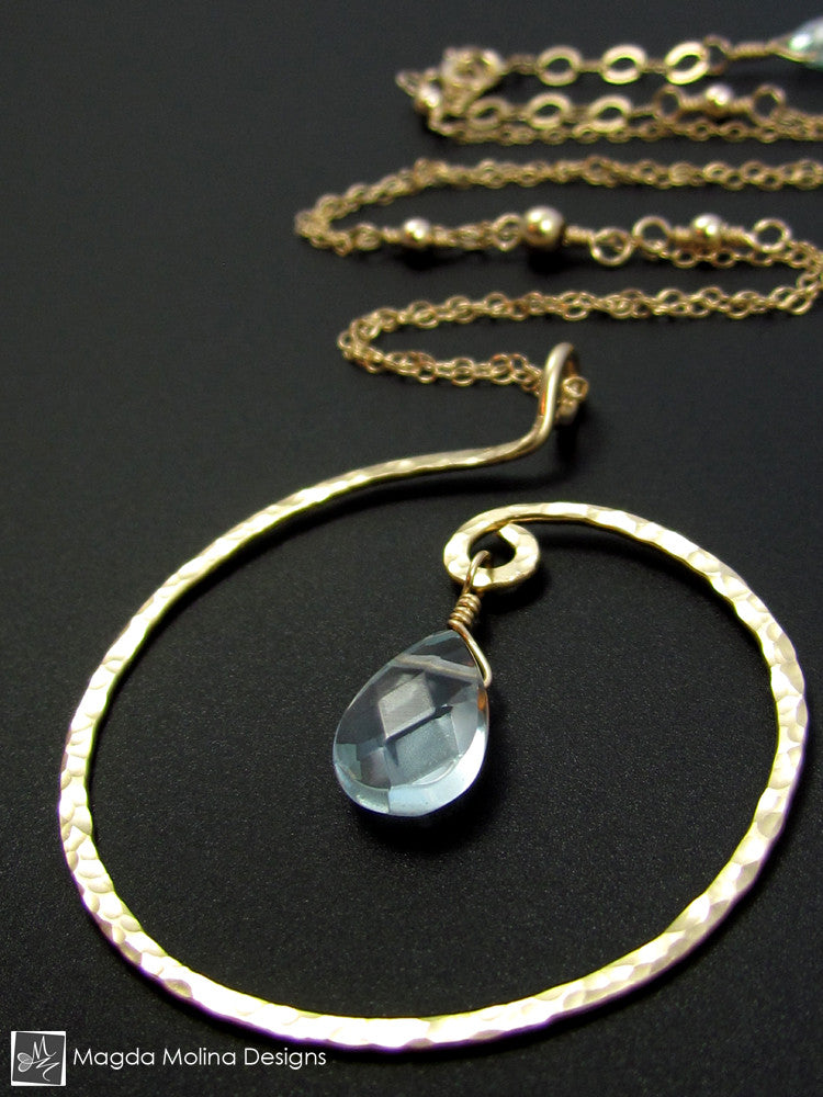 The Hammered Spiral & Light Blue Quartz Necklace