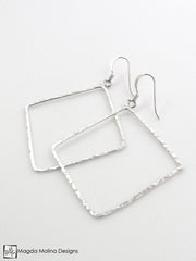 The Delicate Hammered Silver Diamond Earrings