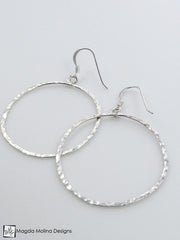 Set: Hammered Silver Circle Necklace and Earrings