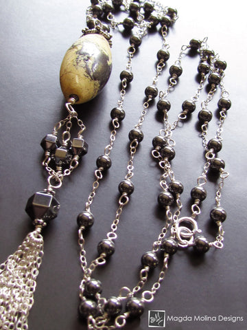 The Long Silver & Hematite Necklace With Large Yellow Turquoise And Tassel