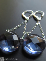 The Silver And Dark Blue Quartz Elegant Dangle Earrings