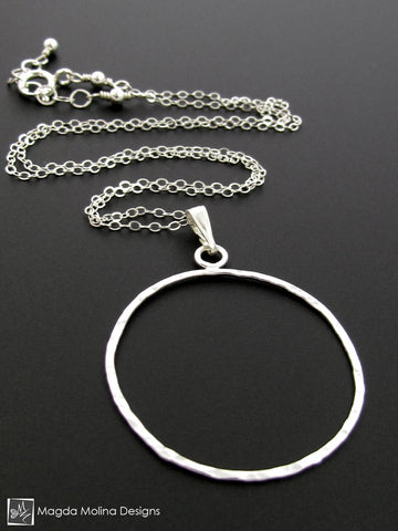 The Delicate Hammered Silver Circle Necklace