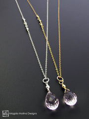 The Long & Delicate Asymmetrical Pink Quartz Chain Necklace on Silver or Gold