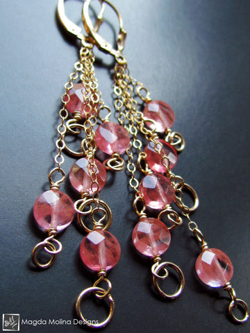 The Delicate Gold And Cherry Quartz Waterfall Earrings