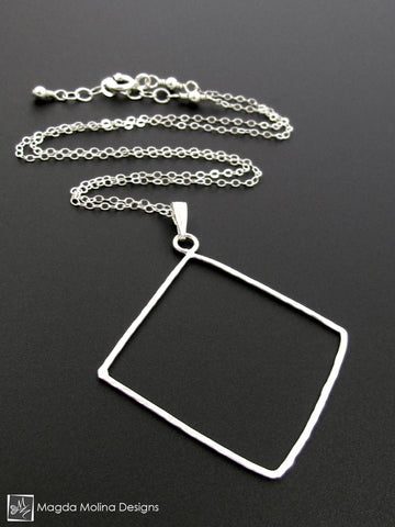 The Delicate Hammered Silver Diamond Necklace