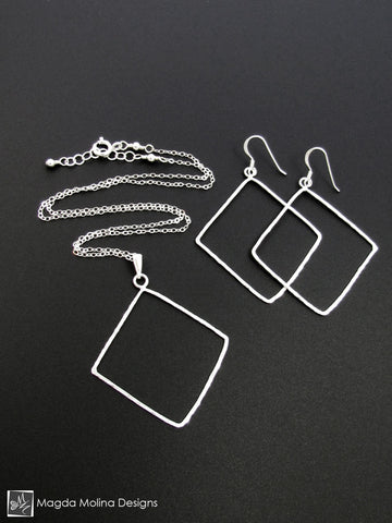 Set: Hammered Silver Diamonds Necklace and Earrings