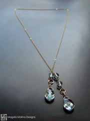 The Delicate Gold Chain Lariat With Light Blue Quartz