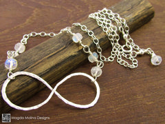 The Hammered Silver and Moonstone Infinity Necklace
