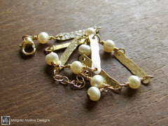The Hammered Gold Bars And White Pearls Bracelet