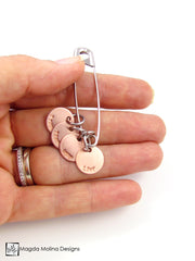 You Are Safe With Me... Copper Affirmation Charms On Safety Pin