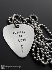 "The ""POWERED BY LOVE"" Hand Stamped Omnisex Guitar Pick Necklace"