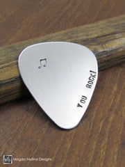 "Stainless Steel Guitar Pick Hand Stamped ""YOU ROCK!"""