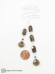 The Delicate Silver Chain Lariat With Faceted Smokey Quartz