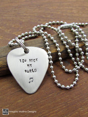 "The ""YOU ROCK MY WORLD"" Hand Stamped Omnisex Guitar Pick Necklace"
