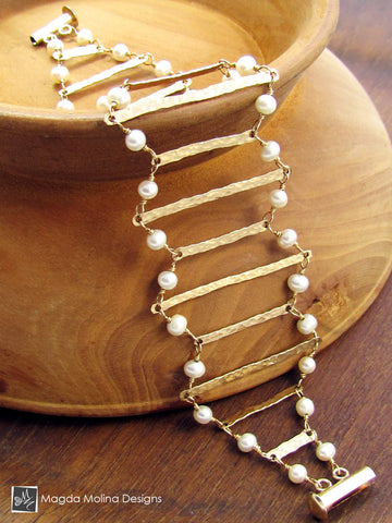 The Golden Ladder Architectural Bracelet With Freshwater Pearls