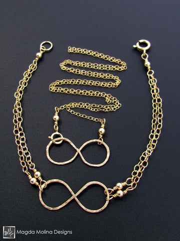 Set: Gold Infinity Necklace and Bracelet
