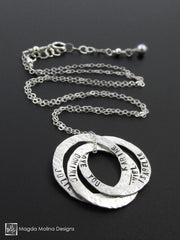 The Personalized Intertwined Hammered Silver Rings Family (or Friends) Necklace