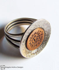 The Large Silver & Copper LOVE: INFINITE Affirmation Ring