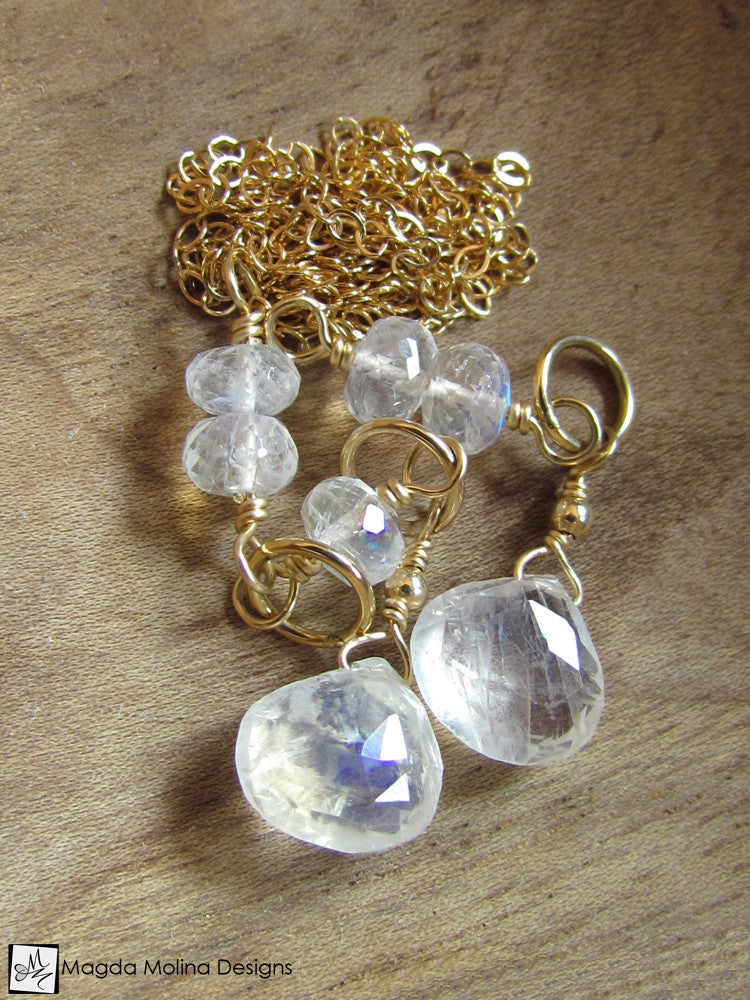 The Delicate Moonstone And Gold Chain Lariat