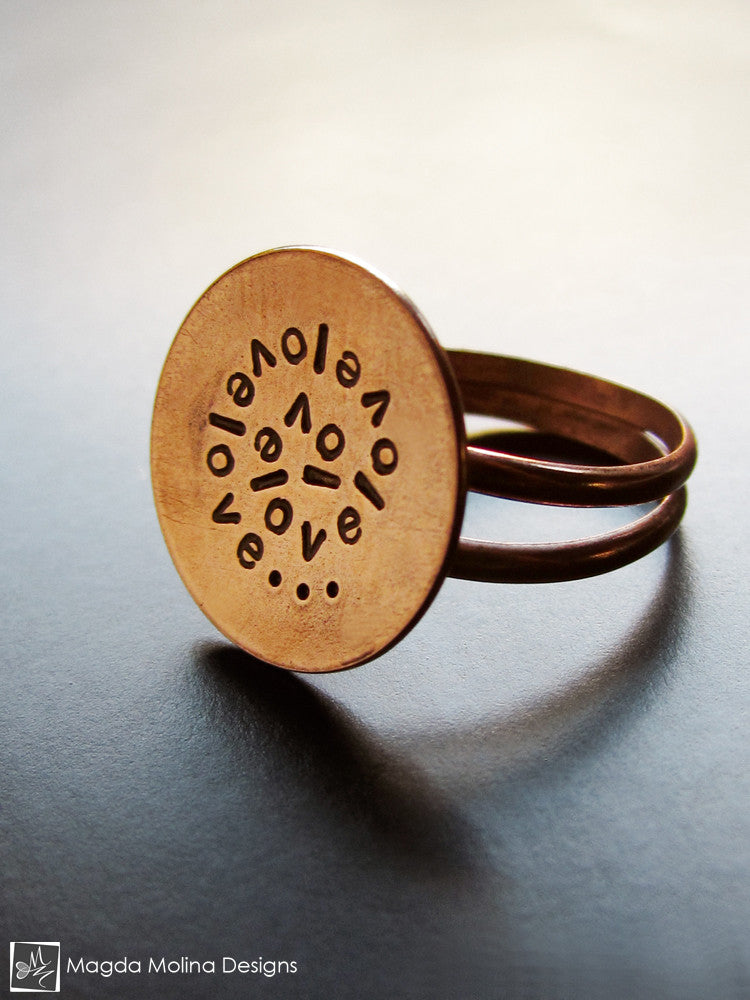 The Stamped Copper LOVE: INFINITE Spiral Affirmation Ring