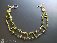 The Gold, Citrine & Peridot Double Stranded Bracelet