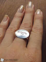 The PERFECTLY ME Hand Stamped Silver Affirmation Ring