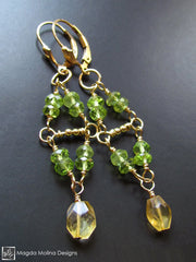 The Gold, Citrine & Peridot Wire-Wrapped Dangle Earrings