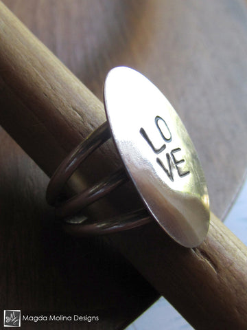 "The Hand Stamped Silver Affirmation ""LOVE"" Ring"