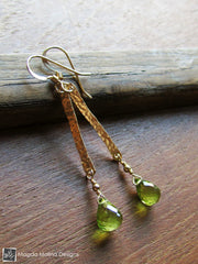 The Hammered Gold Bar And Peridot Drop Earrings
