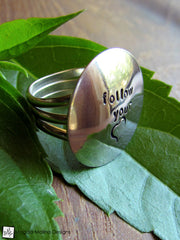 "The Large Silver ""FOLLOW YOUR HEART"" Affirmation Ring"