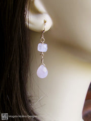 The Feminine Gold (or Silver) And Rose Quartz Dangle Earrings