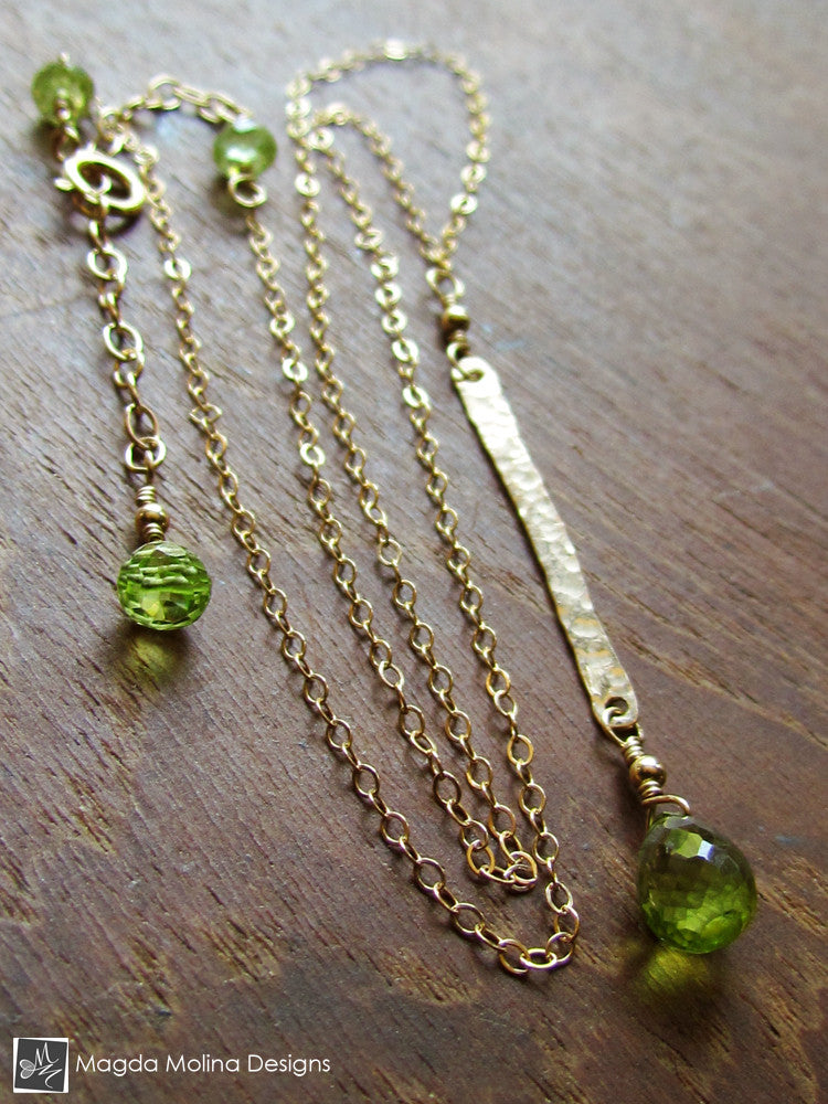 The Hammered Gold Bar And Peridot Drop Chain Necklace