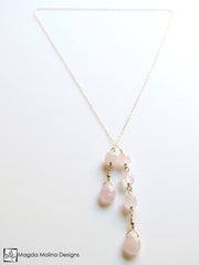 The Delicate Gold Chain Lariat With Rose Quartz Drops