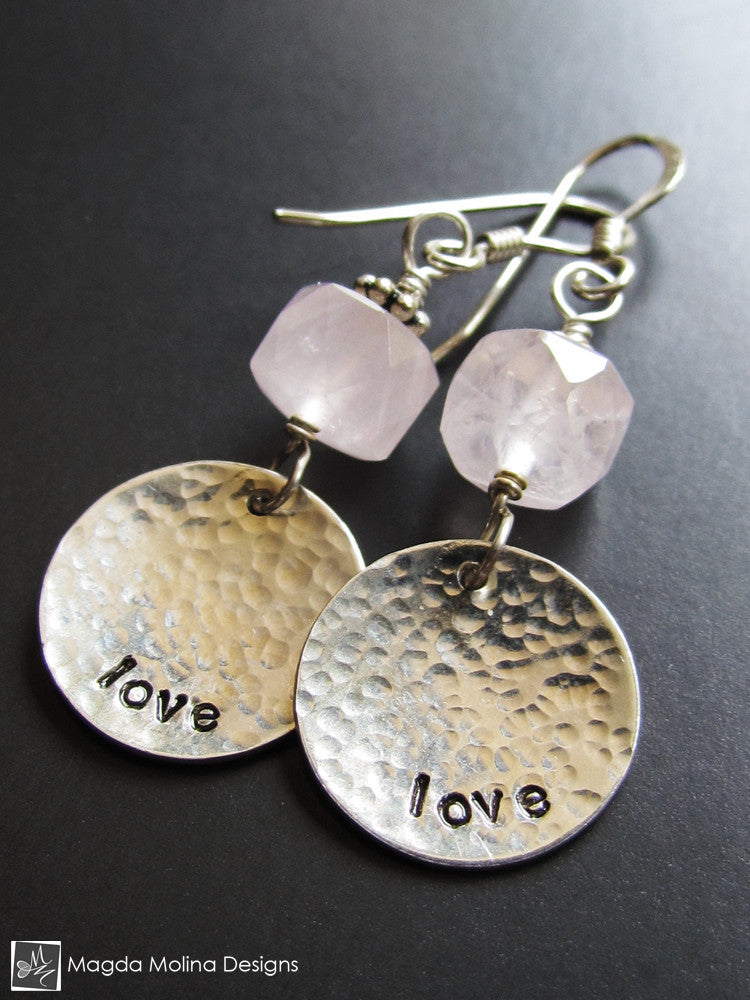 The Rose Quartz LOVE Affirmation Earrings