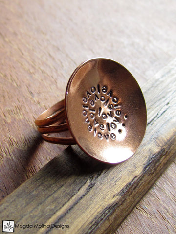 The Large Copper LOVE: INFINITE Affirmation Ring