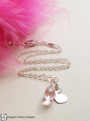 Mini Goddess (children) Silver And Pink Quartz Necklace With Tiny Heart Charm