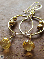 The Small Wire Wrapped Gold Hoops With Citrine Drops