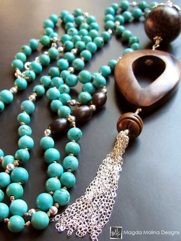 The Long Turquoise And Wood Necklace With Silver Tassel