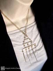 The Golden Architectural Necklace With Freshwater Pearls
