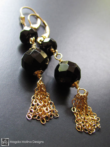 The Black Onyx And Gold Tassel Earrings