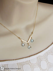 The Something Blue Necklace: Hammered Gold And Fancy Blue Topaz