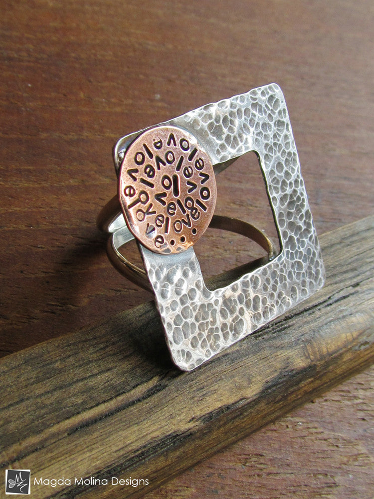 The Square Silver And Copper LOVE: INFINITE Spiral Affirmation Ring